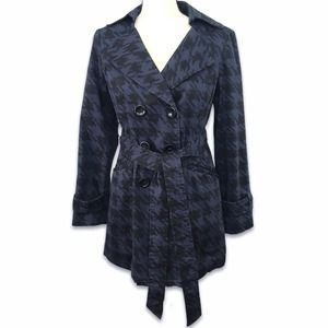 Forever 21 blue black houndstooth lined trench